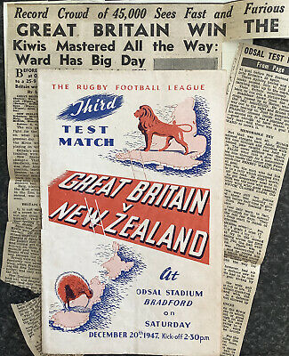 Rugby League International Match Day Programme Great Britain V New Zealand 1947