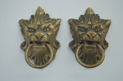 Pair of antique brass Griffin head furniture handles no reserve price