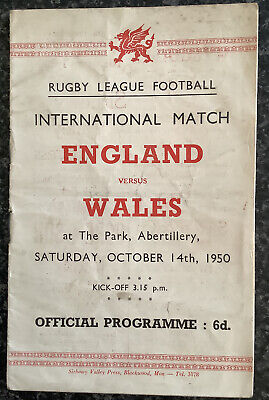 Rugby League International Match Day Programme England V Wales 1950