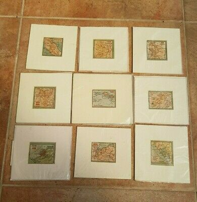 Antique-Late 19th Century Collection of x9 Various Miniature Display Maps-Matted