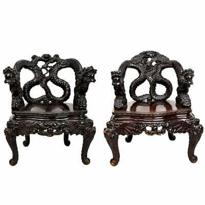 Amazing Pair of Antique Chinese Heavily Carved Dragon Chairs