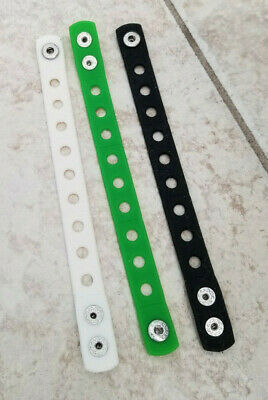 3  X  Wristband White/Green/Black For Shoe Charm Pvc Rubber 18 Cm