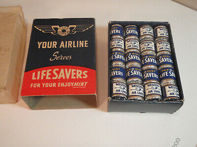 """Vintage Life Savers """"Pep O' Mint"""" Candy Mini Rolls, NOS. Boxed Western Airlines"""