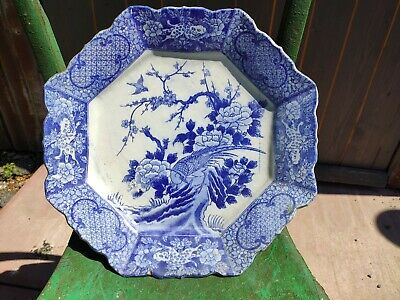 Antique Japanese? Blue & White Plate Transfer Print. Rivet repaired