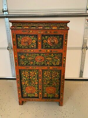 Antique Vintage TibetanTibet  Asian Painted Wood Alter Cabinet