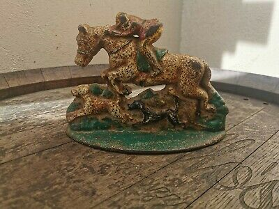 Vintage Horse And Hounds Hunting Cast Iron Door Stop