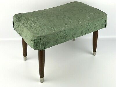"""Vintage Mid Century Modern MCM Green Foot Stool With Tapered Wood Legs 21x13x14"""""""