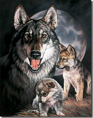 Wolf Experience Wolves Momma & Puppies Tin Metal Sign Graham Made In The USA