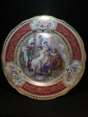 Antique Porcelain Plate, Women Dressing with Child, Nude, Gold, Paint, Excellent