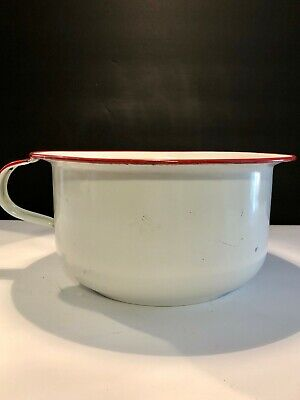 Antique Enamel Chamber Pot - White and Red