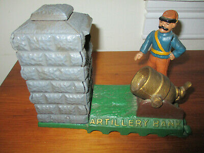 Vintage Mechanical Bank Cast Iron Artillery Bank - The Book Of Knowledge