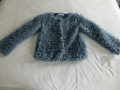 Girls NEXT Blue Textured Teddy Faux Fur Jacket Coat Age 10 yrs  140cm