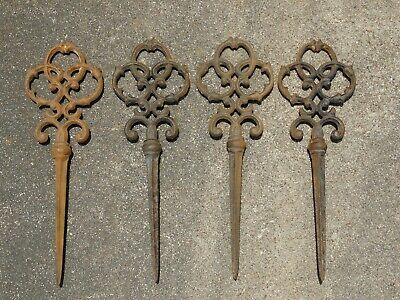 Antique Rustic Cast Iron Garden Marker Stakes Ornate Trinity Style Set Of 4