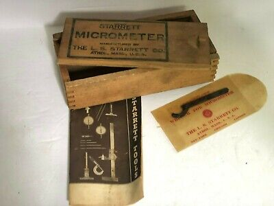 Vintage Starrett Mocrometer Box Instructions Wrench NO MICROMETER INCLUDED