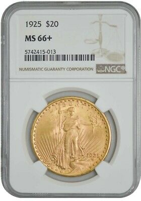 1925 $20 Gold St. Gaudens MS66+ NGC 942760-68