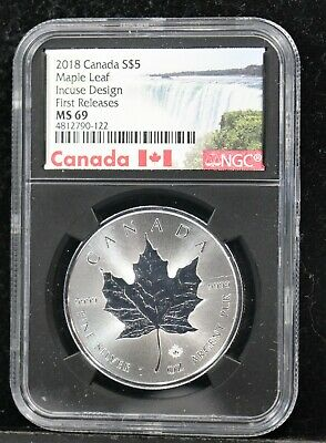 2018 S$5 Canada Maple Leaf Incuse Design Ngc Ms-69 First Releases
