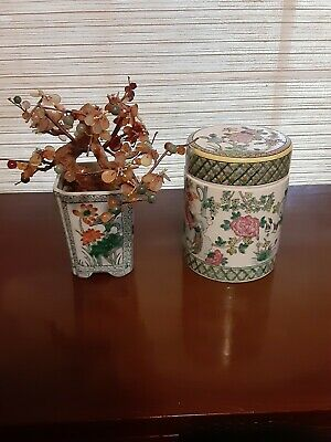 Antique Chinese 8 in Jade Tree in Porcelain Pot and 6 in Porcelain Jar