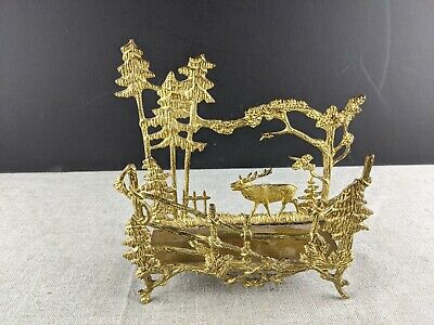 Antique Cast Metal Letter Holder Gilt Elk