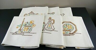6 Vintage Embroidered Tea Towels Linen Teatime