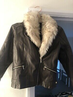 River Island Girls Brown Faux Leather / Fur Collar Jacket  Age 12 Years