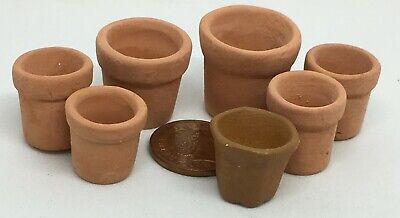 1:12 Scale 7 Assorted Terracotta Flower Plant Pots Tumdee Dolls House 5 Sizes