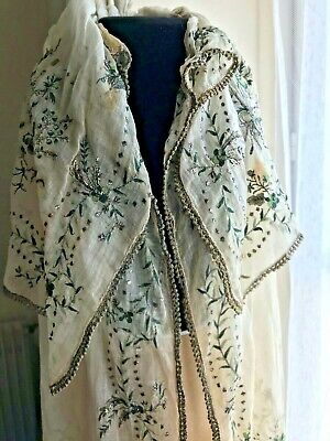 ANTIQUE Edwardian CHILD CAPE with metallic and coloured hand embroidery