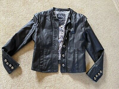 Next Faux Leather Girls Black Jacket. Age 11-12 years