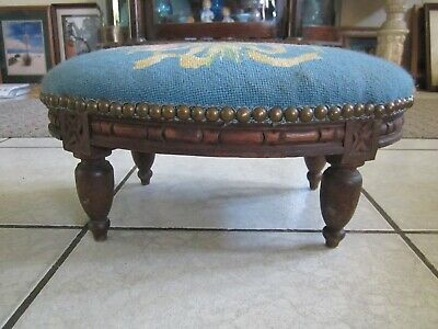 Antique Carved Wooden Victorian Footstool Ottoman