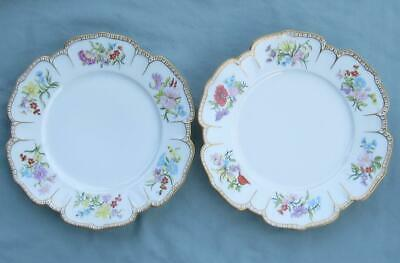 Pair Of Old Paris? Porcelain Plates Hand Painted Flowers Gold Trim