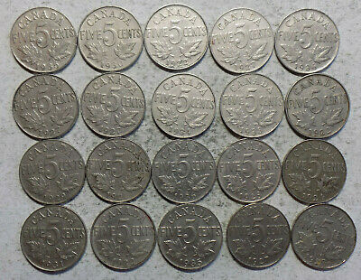 20 Canada King George V  Nickel 5 Cent Circulated Coins (L 47)