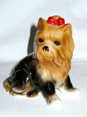 Adorable Maltese Dog Figurine w/ Red Bow Bone China Vintage