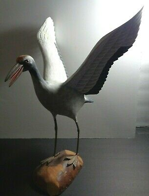 """Vintage Hand-Carved Wooden Shore Bird Decoy. Unsigned. Top Quality-Details. 16""""T"""