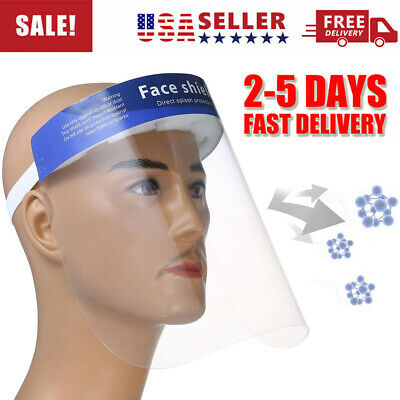 2 PC Safety Full Face Shield Reusable Washable Clear Protection Cover Face Mask