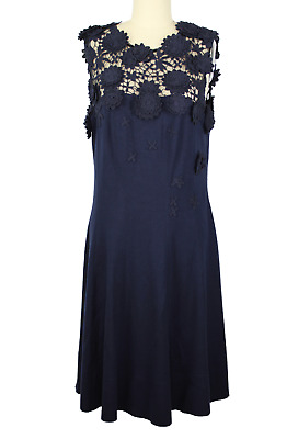 OSCAR DE LA RENTA Dress sz 12 Navy Jersey Lace Neckline & Knit Flowers NWT $3300