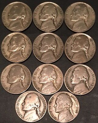 1942-1945-Pds/Nice (11) Coin Set Silver War/Jefferson Nickels/Fast Free Shipping