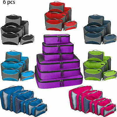6Pack Travel Luggage Organizer Packing Cube Pouch Suitcase Clothes Storage Bags