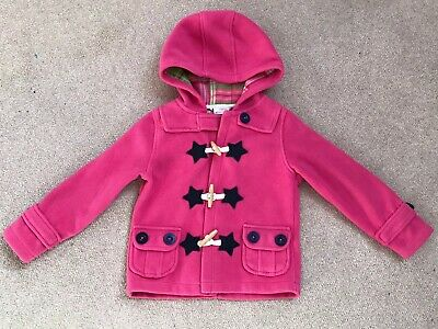 Girls Next Pink Fleece Duffle Toggle Coat - Age 4-5 Years - Excellent Condition
