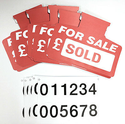 5 X Car For Sale Sign Boards Sun Visor Unit (Red)