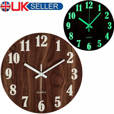 "12""Vintage Wooden Wall Clock Large Shabby Chic Rustic Kitchen Home Antique Decor"