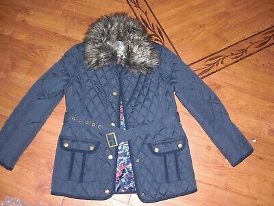 Bnwt Girls Monsoon Kitty Navy Quilted Faux Fur Jacket Coat Age 11-12 Yrs.rrp £50