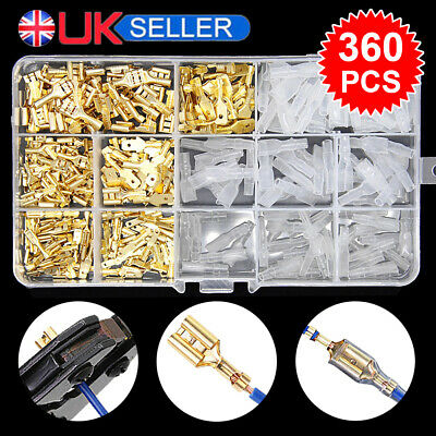 285x Crimp Terminals Male Female Spade Connectors 2.8/4.8/6.3 Wire Insulated Kit