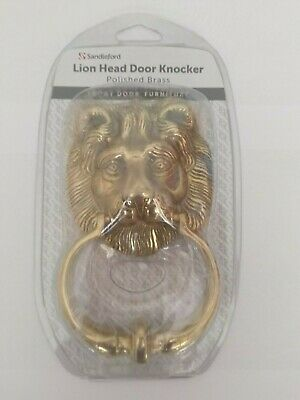 Sandleford Lions Head Door Knocker in Polished Brass - NEW & SEALED