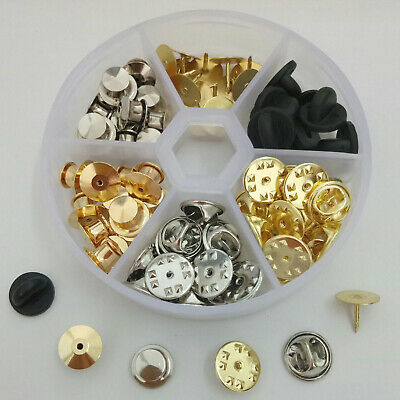 65x Back Clasp Butterfly Clutch with Tie Tacks Blank Pin Brooch Gold Silver Y2Z