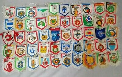 Massive Collection of 50 Old International Football Soccer Associations Pennants