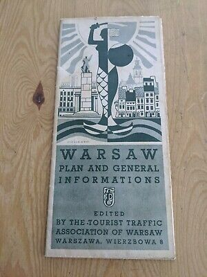 1938 Warsaw Foldout Map Plan & Info