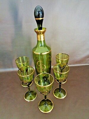 Vintage Green Glass Decanter With Five Matching Glasses