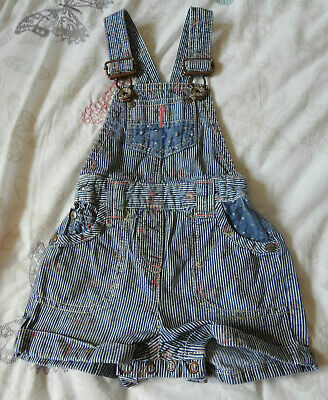 Next Girls Blue Striped Dungarees With Pockets & Flower Pattern 6-9 Months