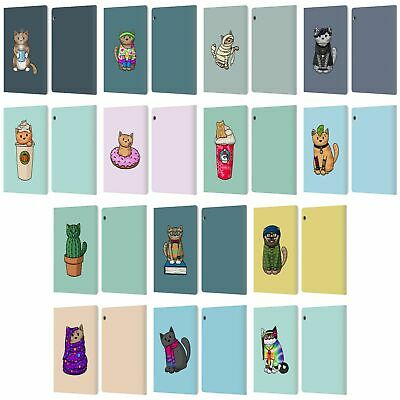 Official Beth Wilson Doodle Cats Leather Book Case For Huawei Xiaomi Tablet