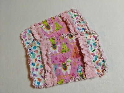 2 New Llama Baby Girl Burp Cloths with Minky Backing