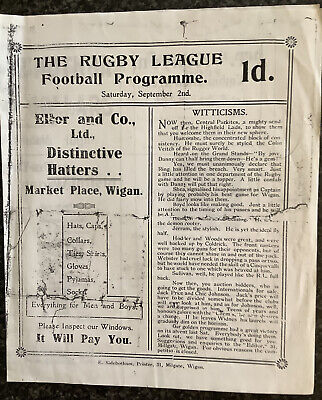 PRE-WAR RUGBY LEAGUE PROGRAMME WIGAN V WIGAN HIGHFIELD 1922 ( Reproduction )